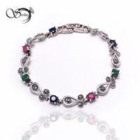 دستبند نقره زنانه سه سنگ کد:۱۴۴۶