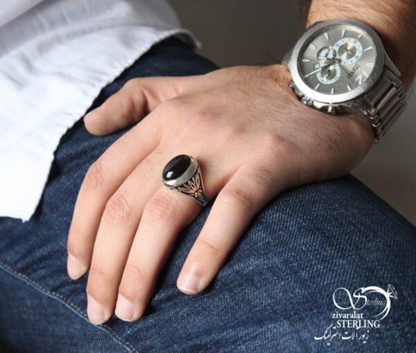 انگشتر نقره مردانه عقیق کد:۱۴۲۹