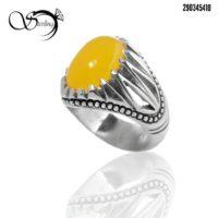 انگشتر مردانه با نگین عقیق زرد کد:۲۵۷۰