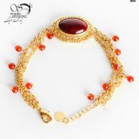 دستبند زنانه طرح طلا با سنگ عقیق کد:۲۸۸۳